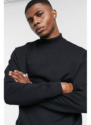 Oksit Wayne Yarım Balıkçı Comfort Fit Basic Sweatshirt Siyah